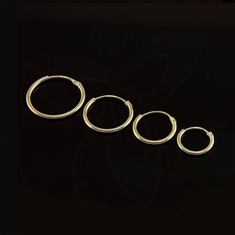 REAL yellow GOLD HOOP 8K 14K 18K EARRINGS PAIR/Single ...