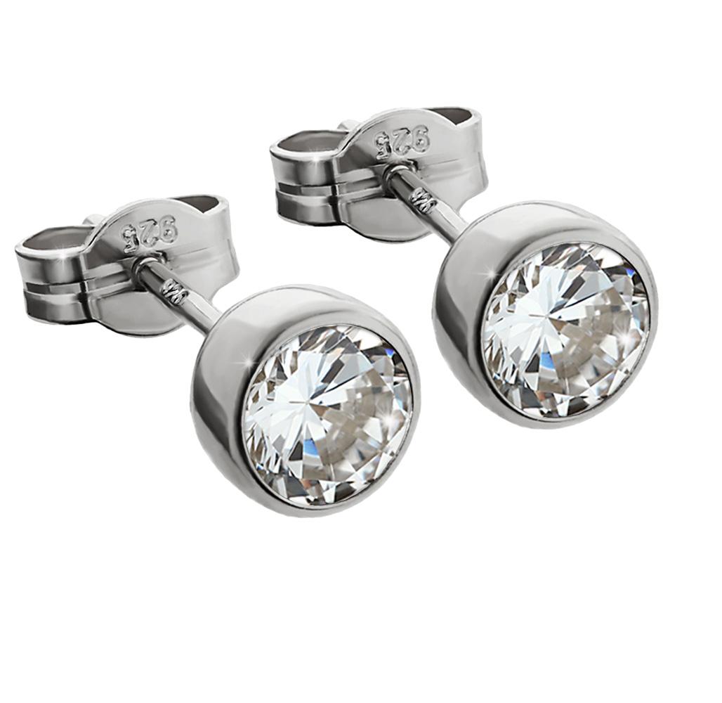 PAAR-Ohrstecker-925-Sterlingsilber-Rhodiniert-Zirkonia-Tonnenfassung-Ohrringe