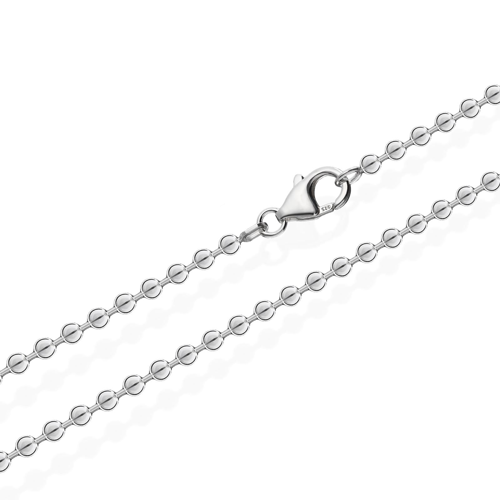 925-Sterlingsilber-Kugel-Kette-fuer-Anhaenger-Silberkette-Halskette-Damen-Kinder