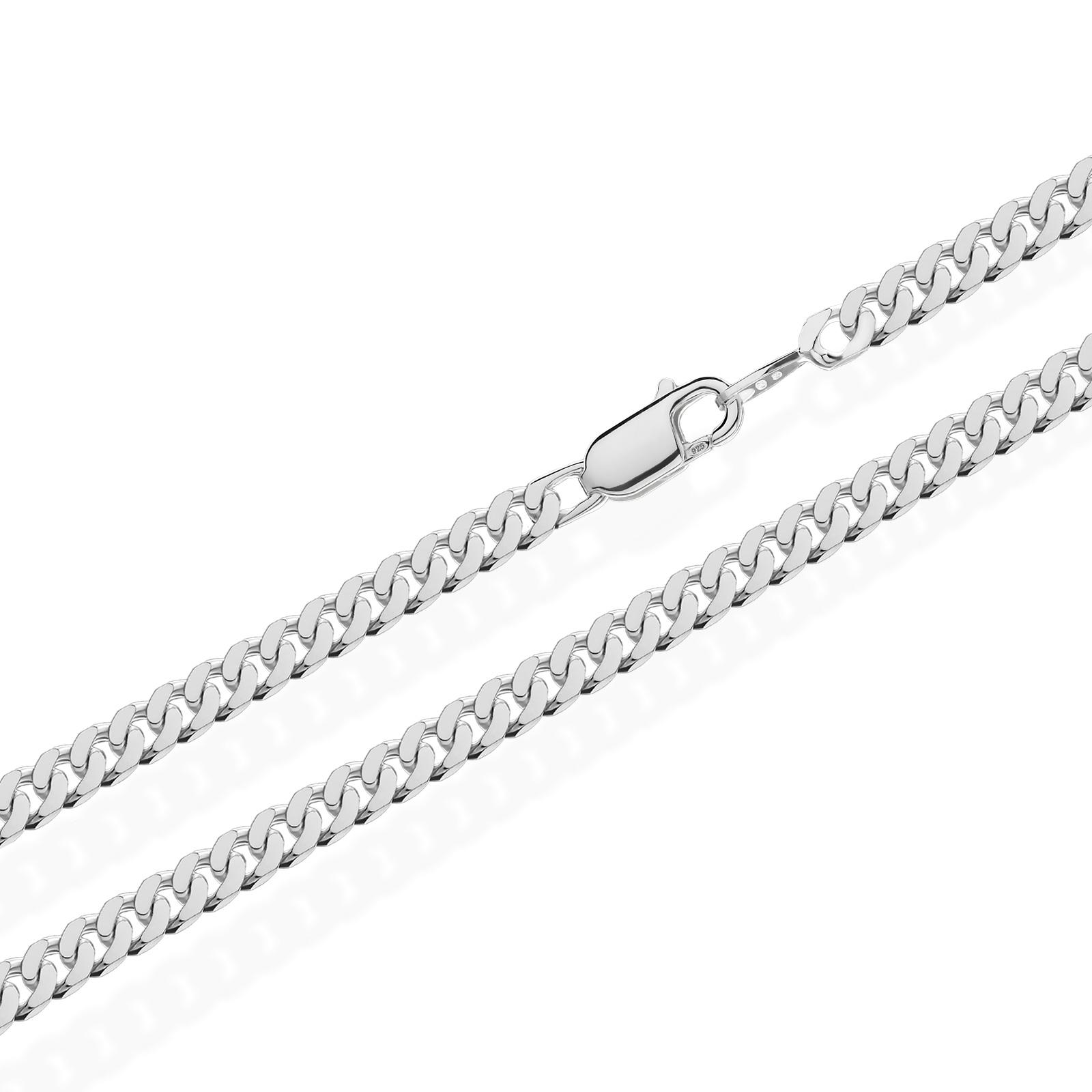 Real-925-Sterling-cadena-de-plata-tanques-cadena-rey-cadena-Collier-collar-masivamente
