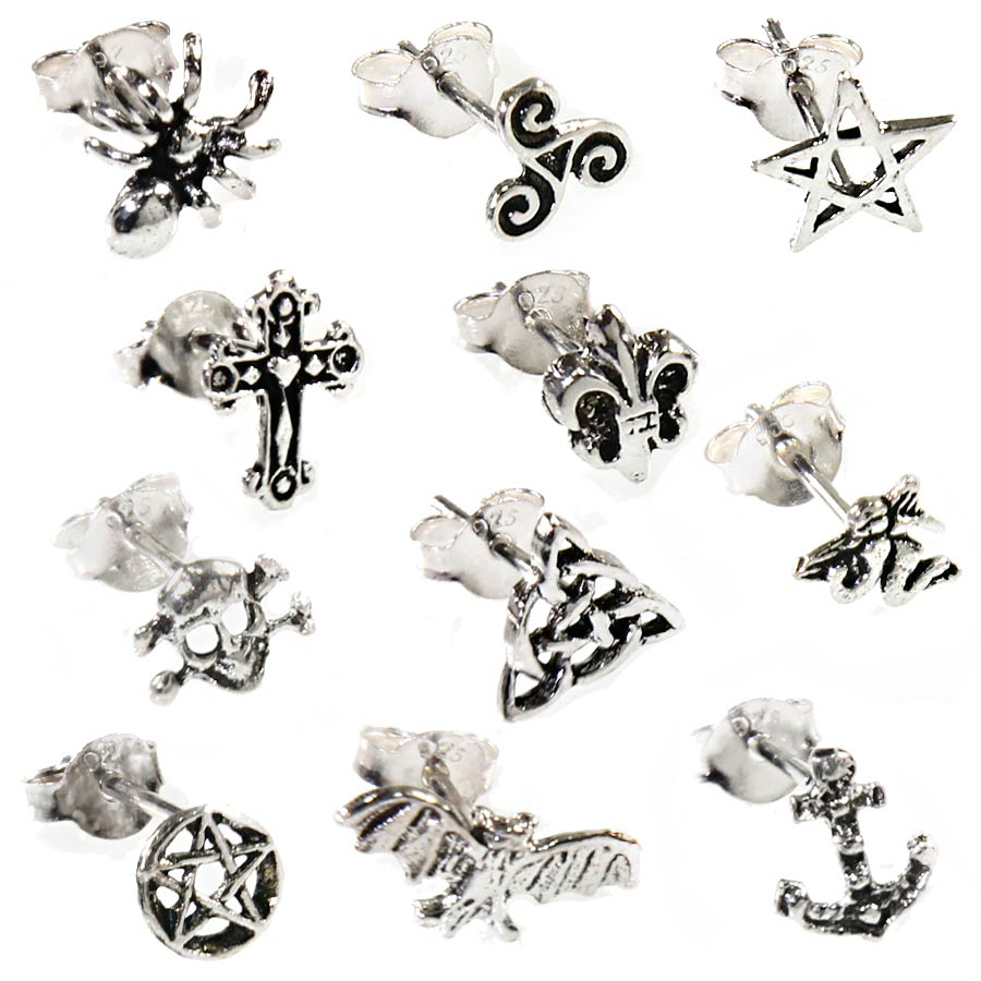 925 sterling silber ohrstecker single paar rockabilly gothic schmuck ohrpiercing ebay. Black Bedroom Furniture Sets. Home Design Ideas