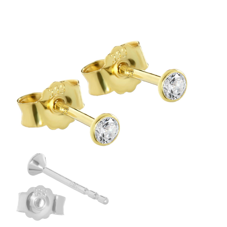 paar ohrstecker gold 333er 3 mm cubic zirkonia damen herren kinder 0 33g 3753 ebay. Black Bedroom Furniture Sets. Home Design Ideas