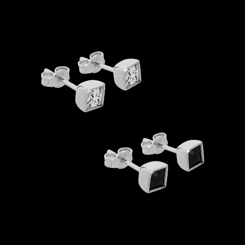 paar m nner ohrstecker mit wei schwarz quadrat zirkonia. Black Bedroom Furniture Sets. Home Design Ideas