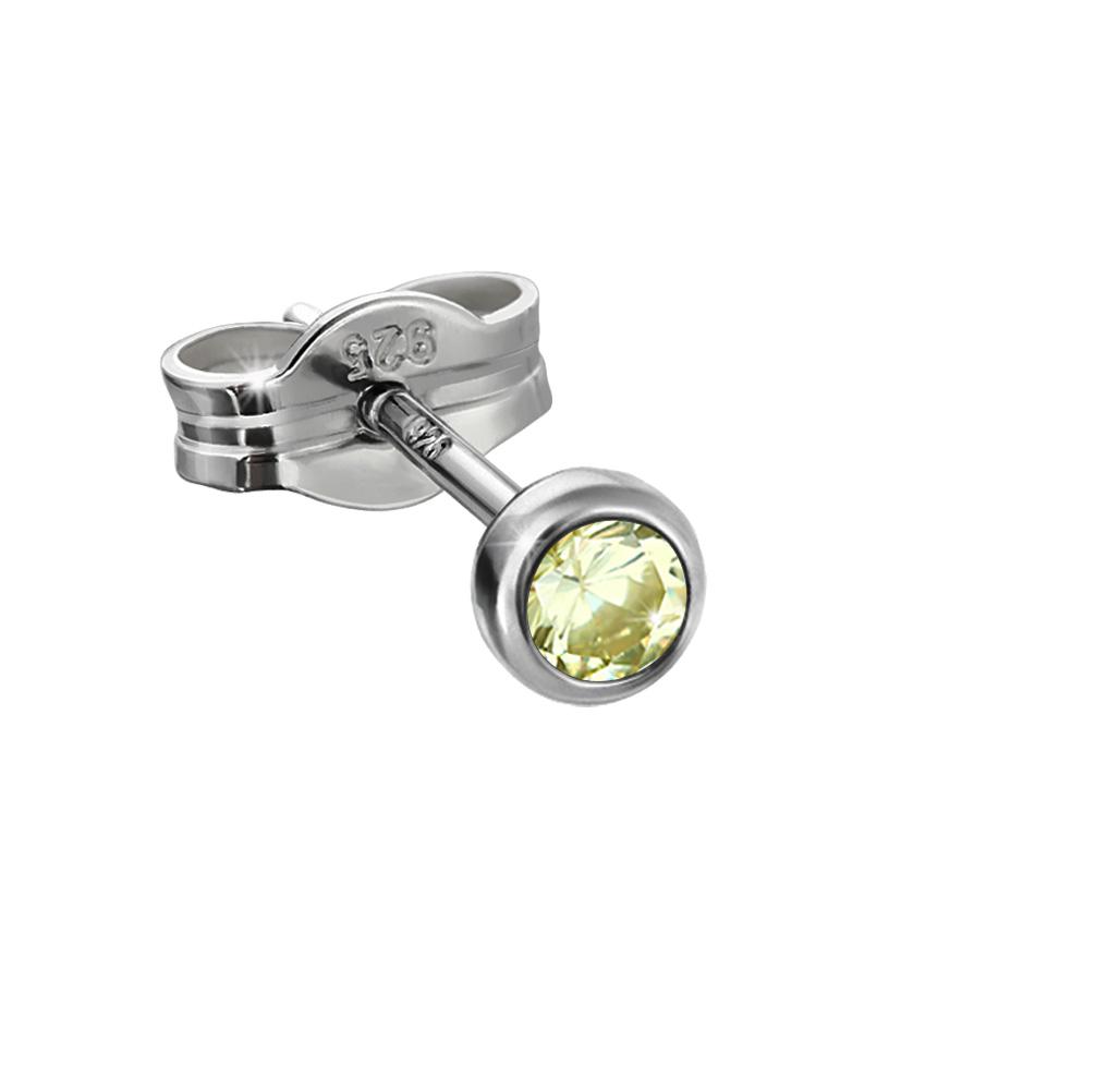 Ohrstecker Ohrringe schwarz 1 Paar 925 Silber 6,5mm Zirkonia Unisex Damen Herren